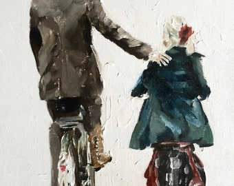 Father Daughter Painting Art PRINT Father and Daughter Cycling - Art Print - from original painting by J Coates