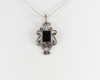 Sterling Silver Onyx Necklace 18 inch chain