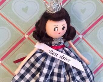 Best sister ornament doll vintage retro inspired red and navy keepsake doll handmade art doll