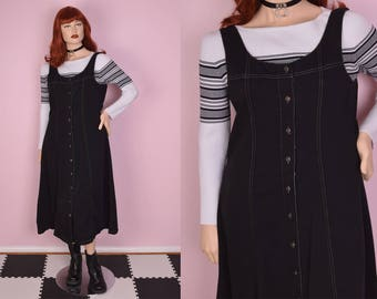 90s Black Button Down Dress/ Large/ 1990s/ Tank/ Sleeveless