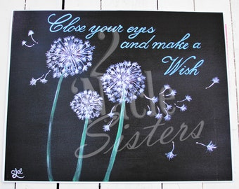 Make a Wish Art Print, Dandelions Art Print, Dandelions Art Printable, Spring Flower Art, Motivational Saying