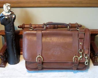 Dads Grads Sale Ghurka Marley Hodgson Barrister Briefcase In Chestnut Leather- Style No 85- Handmade In The United States- Rare Bag