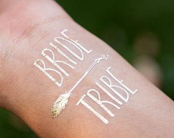 Bachelorette Party Tattoo,Bride Tribe Gold Tattoo, Bridesmaid Gift, Temporary Tattoo,Bachelorette Party Favor, Metallic Gold Flash Tattoo