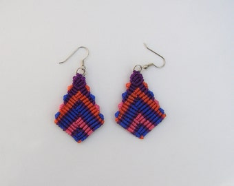 Macrame earrings-boho-lightweight-knotted nylon cord-handmade