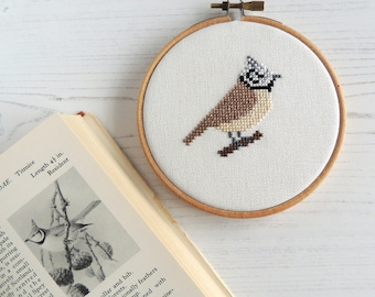 bird cross stitch crested tit pattern, small bird design, Scottish bird cross stitch, Scottish wildlife, small bird cross stitch