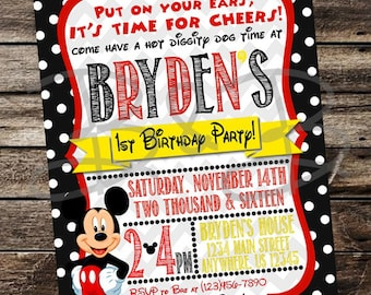 Mickey Mouse Invitation. Mickey Mouse Party. Mickey Invitation. Mickey Mouse Birthday.