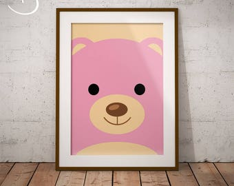 Pink Teddy Bear Art Print, Nursery Printables, Teddy Bear Print, Nursery Printable Wall Art, Girls Room Printable, Teddy Bear Nursery Decor