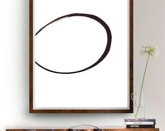 Large abstract art, modern ink art, circle art, minimal abstract, wall art decor, ink art, abstract art, minimalist art, abstract painting