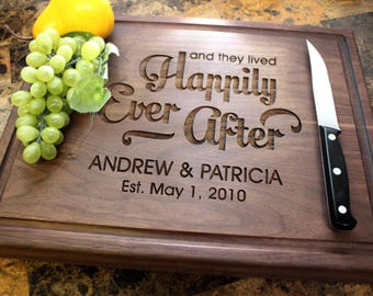 Personalized Chopping Block, 12x15~1&3/4 thick Walnut/Cherry/Sapele, Engraved Butcher Block  - Wedding, Anniversary, Housewarming Gift. 014