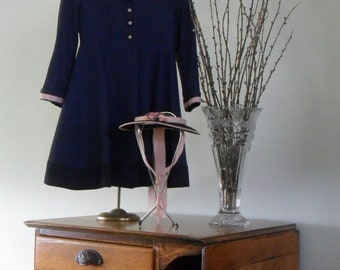"""Absolutely Darling Vintage """"Little Girl's"""" Dress Coat    Navy with pink lining and trim with matching visor!"""