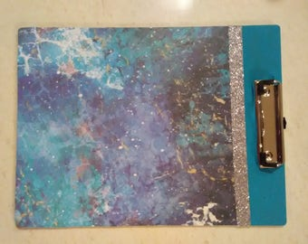 Colorful Blues with Sparkle Clipboard