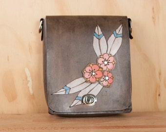 Small Leather Crossbody Bag - Handmade Purse in the Dakota pattern with flowers - Mini Purse or Shoulder Bag - Pink and black