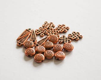 Twenty Copper Beads and Findings