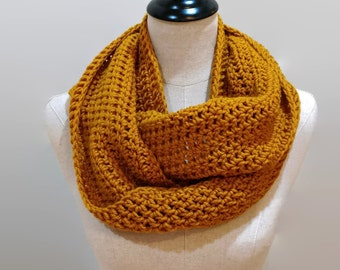 Mustard crochet infinity scarf, Mustard knit infinity scarf, gold scarf, yellow cowl, gold eternity scarf, gifts for her, ready to ship