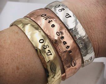 Ohio state jewelry- osu jewlery - Ohio State Bracelet - Scarlet and Grey - custom cuff - ohio state buckeyes - copper cuff - silver cuff