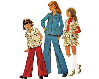 """1970s McCall's 4614 Girl's Gathered Boho Jacket or Top, Mini Skirt, Wide Legged Pants Size 10   Chest 28.5""""/72 cm   Vintage Sewing Pattern"""