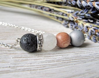 Essential Oil Diffuser Necklace, Aromatherapy Jewelry, Diffuser Jewelry, Lava Stone and Silver Druzy Necklace, LavenderAndStone