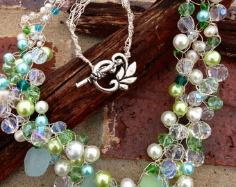 Crocheted Beach Sea Glass Fresh Water Pearls, Glass Pearls, Swarovski Crystals Necklace