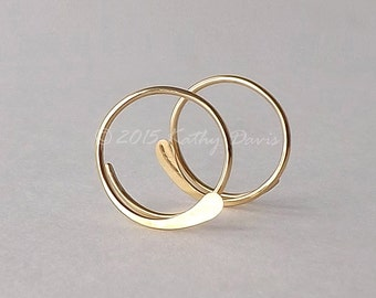 Gold Hoop Earrings Hammered Open Hoops 14k Gold Filled, Choose Your Custom Size, womens jewelry gift for her, handmade hoops custom jewelry