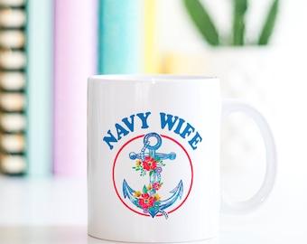 Navy Wife Anchor Mug, Navy Wife Mug, US Navy Wife, Gifts For Navy Wives, Navy Wife Cups, Gifts For Her, Gifts For Women, Anchor Coffee Mugs