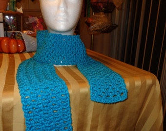 Blue bright colored Handmade Crochet Scarf