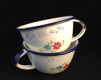 2 TrEs Enamelware Cups, White with Flowers Blue Rim and Handle Tops, Rustic, Decorative or Can be Used, Made in Mexico, Holds 8 oz.