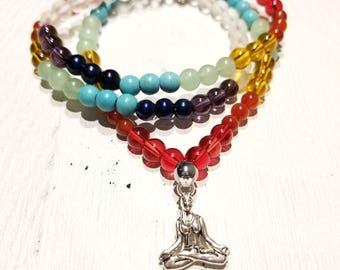 Chakra 108 Bead Wrist Mala - Wrap Bracelet