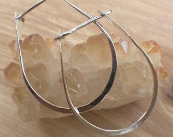 Sterling silver hoop earrings medium silver hoops 1 1/2 inch hoops hand forged earrings hammered hoops