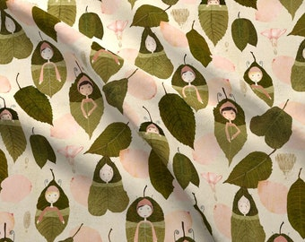 Leaf Sleepers Fabric - Leaf Sleepers By Katherine Quinn- Leaf Ladies Fairy Forest Sleep Baby Girl Cotton Fabric By The Yard With Spoonflower