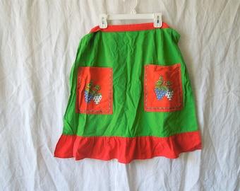 70s Strawberry Frilly Bottom Apron Skirt