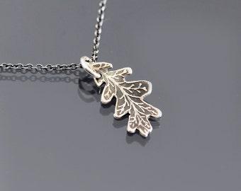 Etched Silver Oak Leaf Necklace, Oak Leaf Pendant, Oxidized Silver Pendant, Etched Oak Leaf, Botanical Jewelry