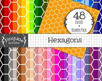 48 Hexagon Digital Papers Honeycomb, INSTANT Download, Honeycomb Scrapbook Paper Hexagon, Commercial Use (Cu), Digital Download