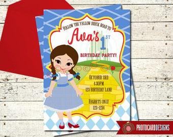 Wizard of OZ Birthday Invitation, Wizard of Oz Birthday, Dorothy, Birthday, Halloween Invitation, Fall Birthday, Digital, Invite, Party