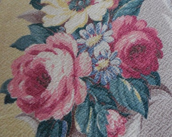 """GLENCOURT BARKCLOTH Dove Grey and Lemon Yellow with Cabbage Roses, Florals and Fronds Drapery Fabric Piece - 22"""" X 140"""""""