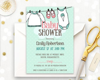 Onesie Baby Shower Invite Printable - Mint Baby Shower Invitation - Gender Neutral Baby Shower Digital PDF Template Instant DOWNLOAD PDF