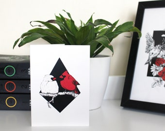A6 'Pair of Cardinals' Illustrated Greetings Card