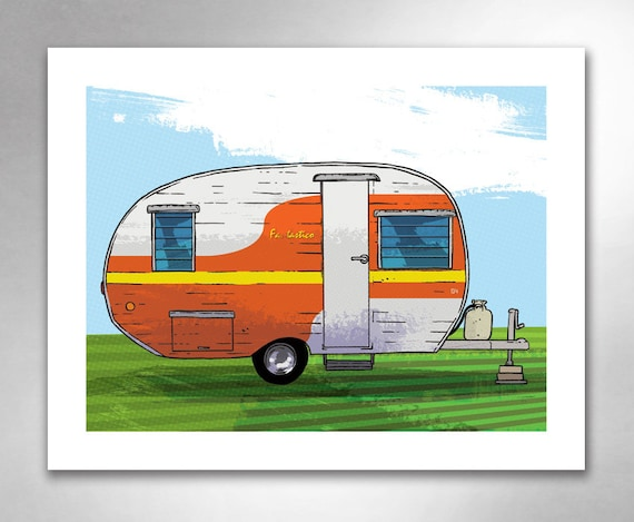 VINTAGE TRAVEL TRAILER 4 Fantastico Red Orange Art Print by Rob Ozborne