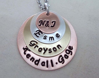 Custom Jewelry Family Stack Necklace - Custom Kids Names - Personalized Mothers Day Gift - Mommy Necklace - Family Names Hand Stamped - S126