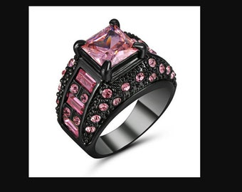womens size 7 princess cut pink sapphire black rhodium plated ring engagement ring wedding ring fashion ring promise ring