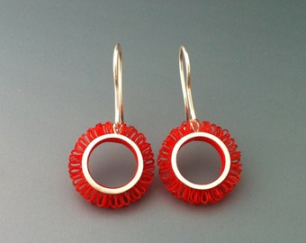 Earrings sterling silver with plastic, diameter of the loop circles 21mm, Length 42mm, color red, design loops in circles