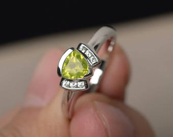 Natural Green Peridot Rings Promise Rings August Birthstone Trillion Cut Rings Sterling Silver Ring