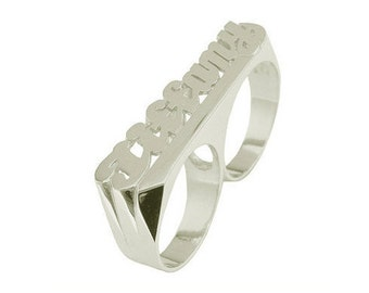 SNS182Mw - Rhodium Plated Sterling Silver Two Finger Straight Tail Name Ring.