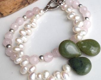Beaded Bracelet, Double Strand Bracelet, Rose Quartz, Jade Briolettes, Freshwater Pearls, Silver Plated Bracelet