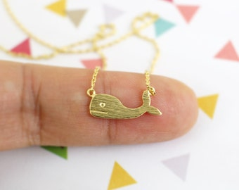 Dainty Necklace, Gold Whale Necklace,Whale Charm Necklace, Tiny Whale Necklace, Bridesmaid Gift, Birthday Gift,5059