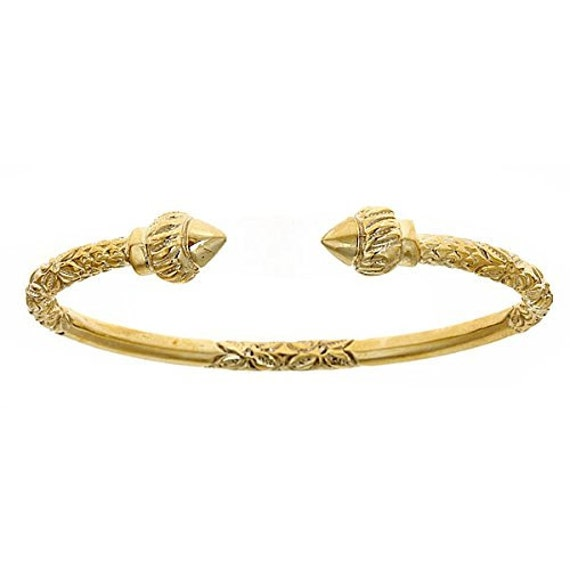 14k Yellow Gold West Indian Bangle W Torch Ends 43 Grams