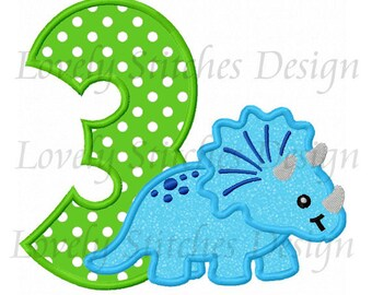 Dinosaur With Number 3 Applique Machine Embroidery Design NO:0491