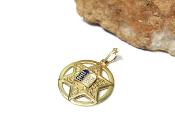 Vintage Star of David, Magen David Pendant Necklace with 10 Commandments 14k Yellow Gold