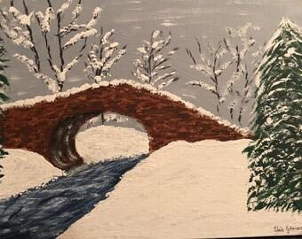 Winter Painting-Winter landscape painting-Winter Art-Cobblestone bridge winter painting-snowy landscape-Acrylic painting-cobblestone bridge