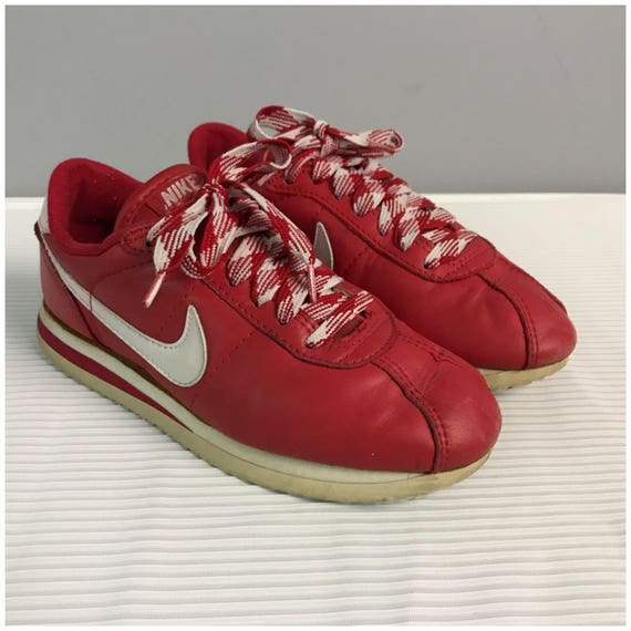 ... RARE Vintage 1980s Original Nike Cortez Red Leather White ...