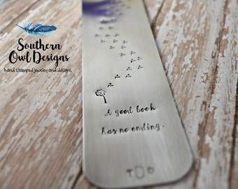 Personalized Hand-stamped Metal Dandelion bookmark,  custom bookmark, aluminum bookmark, metal bookmark, dandelion bookmark, quote bookmark